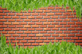 Free Brickwall And Curve Grass Stock Photography - 16212912