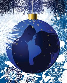 Free Christmas Ball With Kissing Couple. Royalty Free Stock Image - 16210406