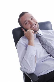 Young Businessman Talking On Mobile Phone Royalty Free Stock Photography
