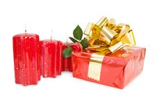 Festive Gift With Red Rose Stock Photos