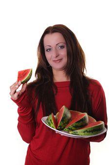 Free Woman With Melon Stock Photos - 16211143