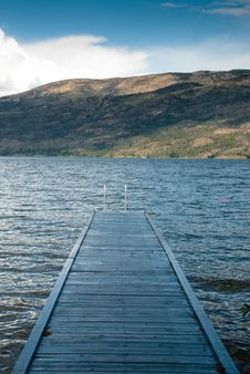 Wood Pier On Okanagan Lake Stock Images