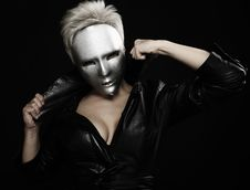 Free Gloomy Woman In Silver Mask Stock Photo - 16211700