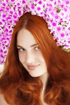 Beautiful Girl With Flowers In Her Hair Stock Images
