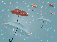 Open Colorful Flying Umbrella Stock Images