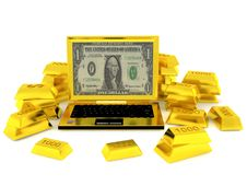 Free Golden Succsess Computer Surrounded Golden Bars Royalty Free Stock Images - 16213459