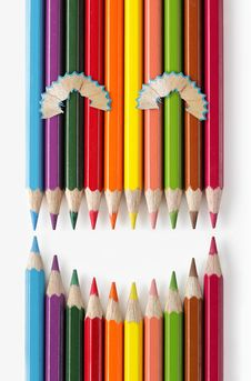 Free Smiling Face Of Color Pencils Royalty Free Stock Images - 16214399