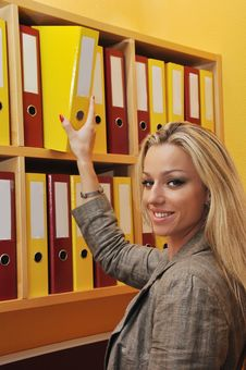 Free Business Woman Taking Folder Stock Images - 16214434