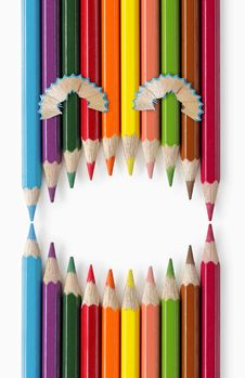 Free Laughing Face Of Color Pencils Royalty Free Stock Photography - 16214447