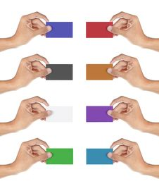 Hand With Many Colors Of Cards Royalty Free Stock Image