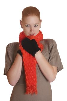 Free Woman With Scarf And Gloves Royalty Free Stock Photo - 16214695
