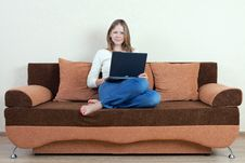 Free Woman With Laptop On The Sofa Stock Image - 16216011