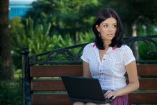 Free Girl With Laptop In Park Stock Image - 16216221