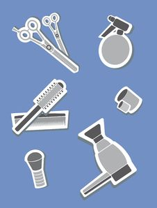 Free Hairdressing Icons Stock Photography - 16216502
