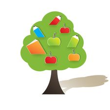 Free Green Tree With Apple. Vector Illustration Royalty Free Stock Photography - 16216677