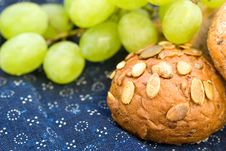 Free Bread With Grapes On Blue Canvas Stock Photo - 16217330