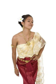 Free Thai Woman In Traditional Clothes Royalty Free Stock Photography - 16217347