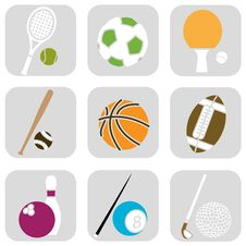 Free Sport Ball Icons Royalty Free Stock Images - 16219289