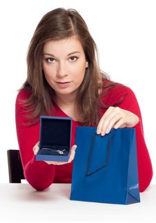 Women Holding A Luxury Jewelry In Box Royalty Free Stock Photo