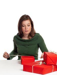 Free Women Wrapping Gift Box Stock Image - 16219621