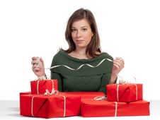 Beautiful Women And Red Giftboxes Stock Photography