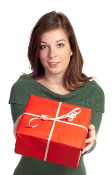Free Women Giving Red Giftbox For You Stock Photos - 16219653