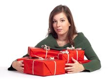 Free Young Woman With Red Gitfboxes Royalty Free Stock Photos - 16219668