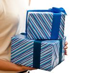 Free Blue Gifts Boxes In Hands Stock Photography - 16219862