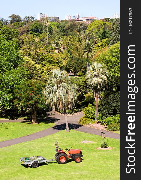 City garden with tractor