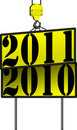 Free Vector New Years Crane Sign 2011 Replacing 2010 Stock Photography - 16221752