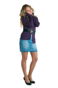 Girl In A Lilac Shirt And Jeans Skirt Royalty Free Stock Photo