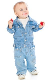 Free Boy With Strawberry Royalty Free Stock Image - 16220966