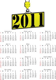 Vector Crane 2011 Calendar Royalty Free Stock Photos