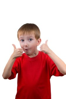 Happy Boy  Shows The Sign Stock Images
