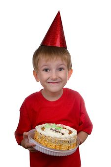 Free Happy Boy With A Cake Royalty Free Stock Photography - 16222027