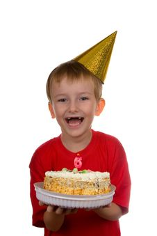 Happy Boy With A Cake Stock Images