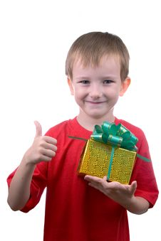 Happy Boy With Present Royalty Free Stock Photography