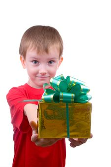 Free Happy Boy With Present Stock Images - 16222224