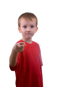 Boy Shows His Finger Forward Royalty Free Stock Photography