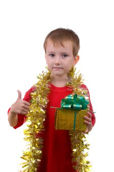 Happy Boy With Present Royalty Free Stock Photos