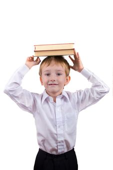 Free Happy Boy With A Stack Of Books Stock Images - 16222354