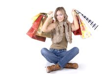 Free Sexy Blond Woman With Shopping Bags Stock Photography - 16223842