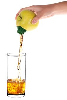 Free Pouring Apple Juice Into A Glass Of Apple Royalty Free Stock Photos - 16224348