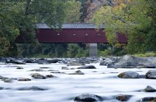 Covered Bridge River Stock Photos