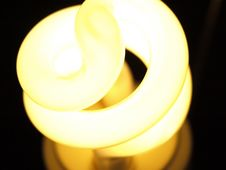 Close Up Shot Of Fluorescent Light Bulb Stock Image
