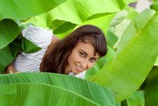 Girl In Banana Leaves Stock Photo
