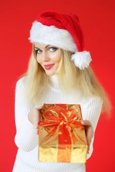 Girl Holding A Gift Royalty Free Stock Photo