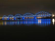 Rail Bridge Over Daugava Stock Images
