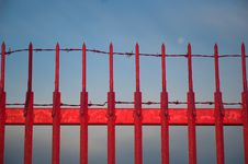 Red Metal Fence Stock Photos
