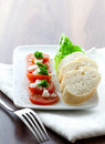 Free Tomato Salad With Baguette Stock Image - 16230321